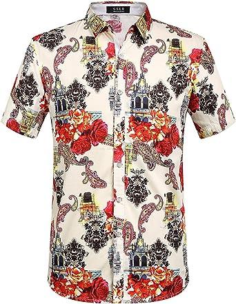 SSLR Camisa de Verano Estampado Retro Floral para Hombre (Small, Blanco Rojo): Amazon.es: Ropa y accesorios
