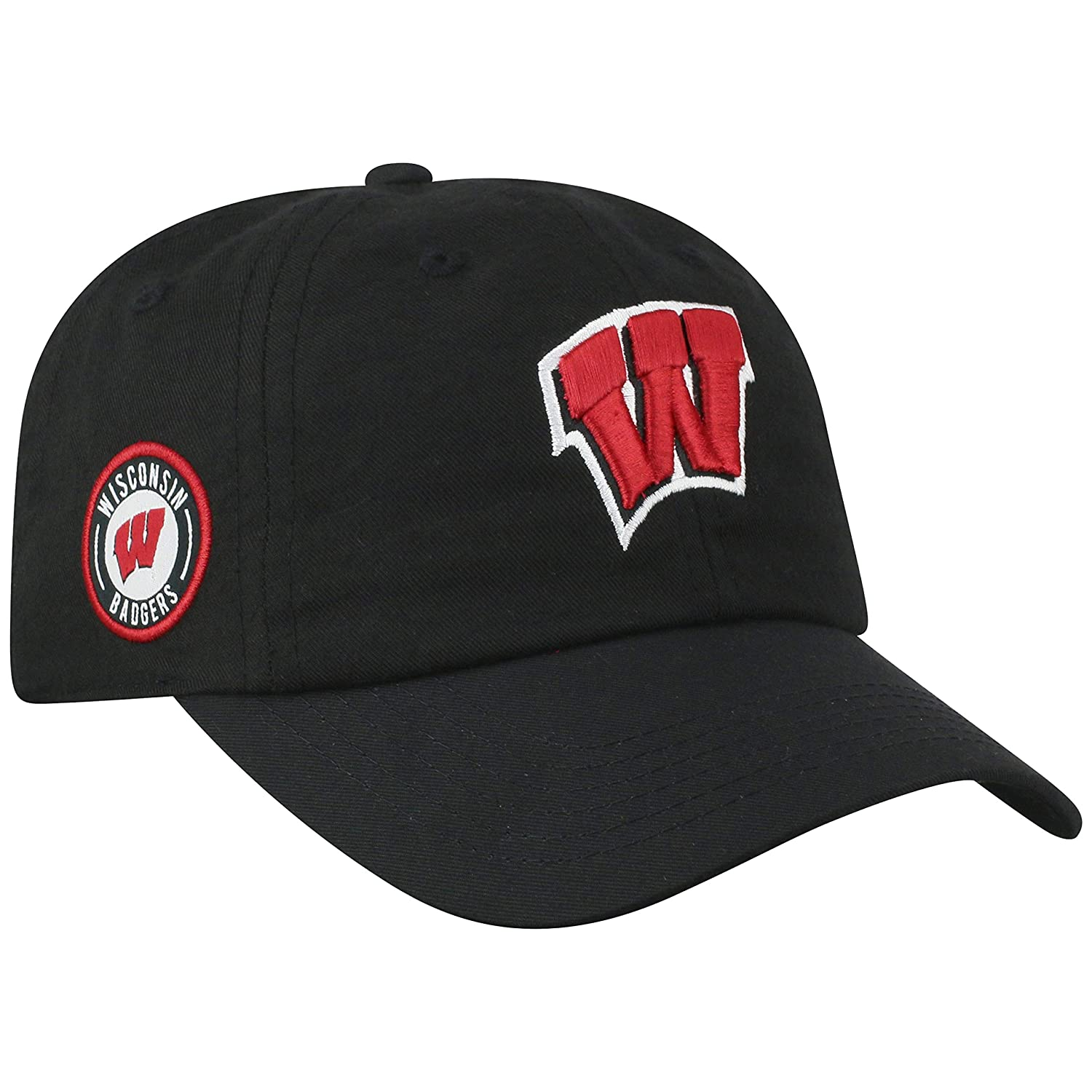 Top of the World Wisconsin Badgers Official NCAA Adjustable Black Curved Bill Staple 4 Hat Cap 745671