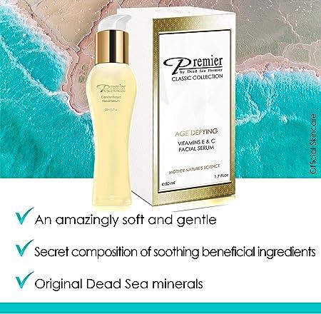 Dead Sea Concetrated Face Serum   Serum Facial Concentrado   Serum Antioxidante para piel seca con Vitamina E y C   Serum Hidratante Antiarrugas   Premier by Dead Sea Premier