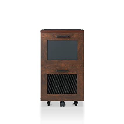 Incroyable HOMES: Inside + Out Acosta 2 Drawer Rolling File Cabinet, Vintage Walnut