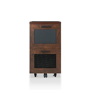 HOMES: Inside + Out Acosta 2 Drawer Rolling File Cabinet, Vintage Walnut