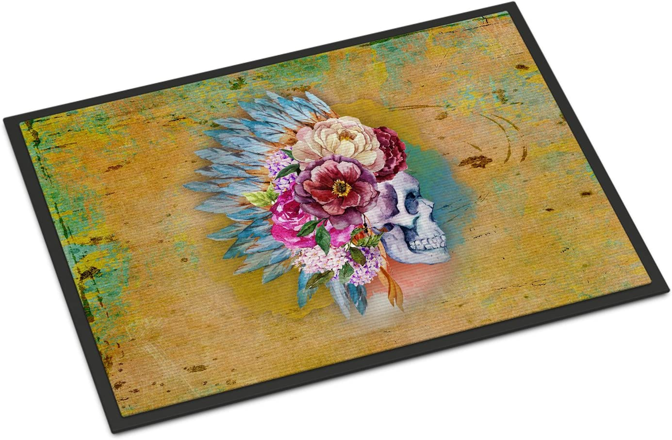 Amazon Com Caroline S Treasures Bb5129jmat Day Of The Dead Flowers Skull Indoor Or Outdoor Mat 24x36 24h X 36w Multicolor Caroline S Treasures Home Kitchen