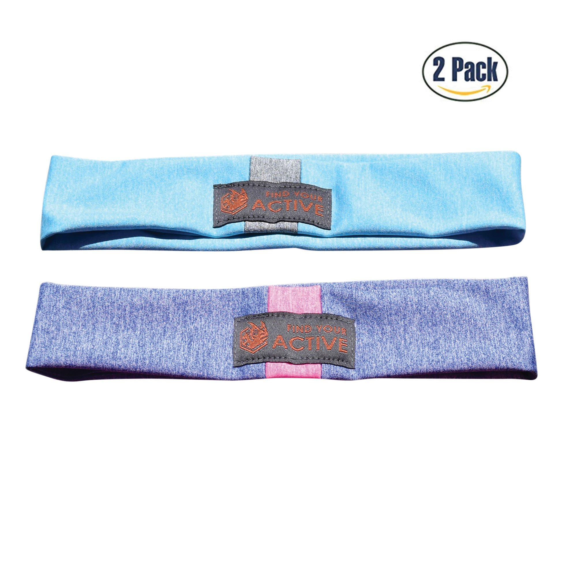 Red Dust Active Lightweight Sports Headband - Non Slip Moisture Wicking Sweatband - Ideal for Running, Cycling, Yoga and Athletic Workouts - by Twin Pack by Red Dust Active (Image #1)