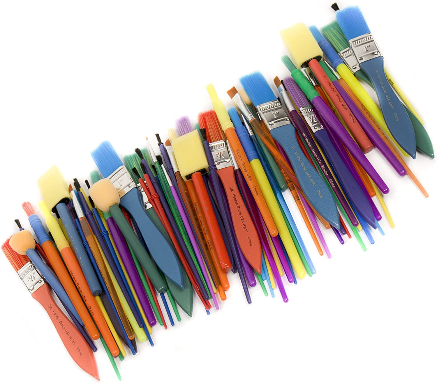 Horizon Group USA Paint Brushes -35 All Purpose Paint Brushes Value Pack – Includes 8 Different Types of Brushes, Great with Watercolors, Acrylic & Washable Paints. Multicolored: Toys & Games