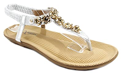 5246a5a66 Forever C-56 Silver Golden Flower Rhinestone T-Strap Comfort Cushioned Thong  Sandals-