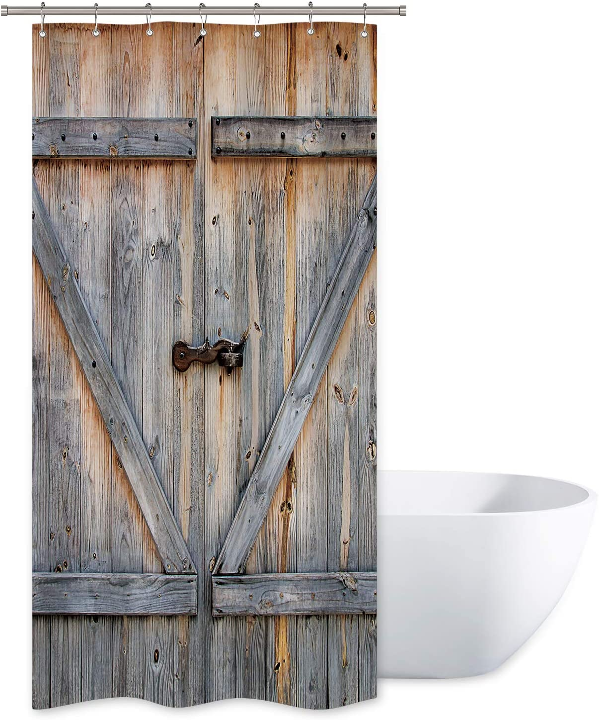 Riyidecor Stall Barn Door Shower Curtain 36wx72h Rustic Wooden Farmhouse Vintage Barnwood Decor Fabric Polyester Waterproof 7 Pack Plastic Hooks Home Kitchen