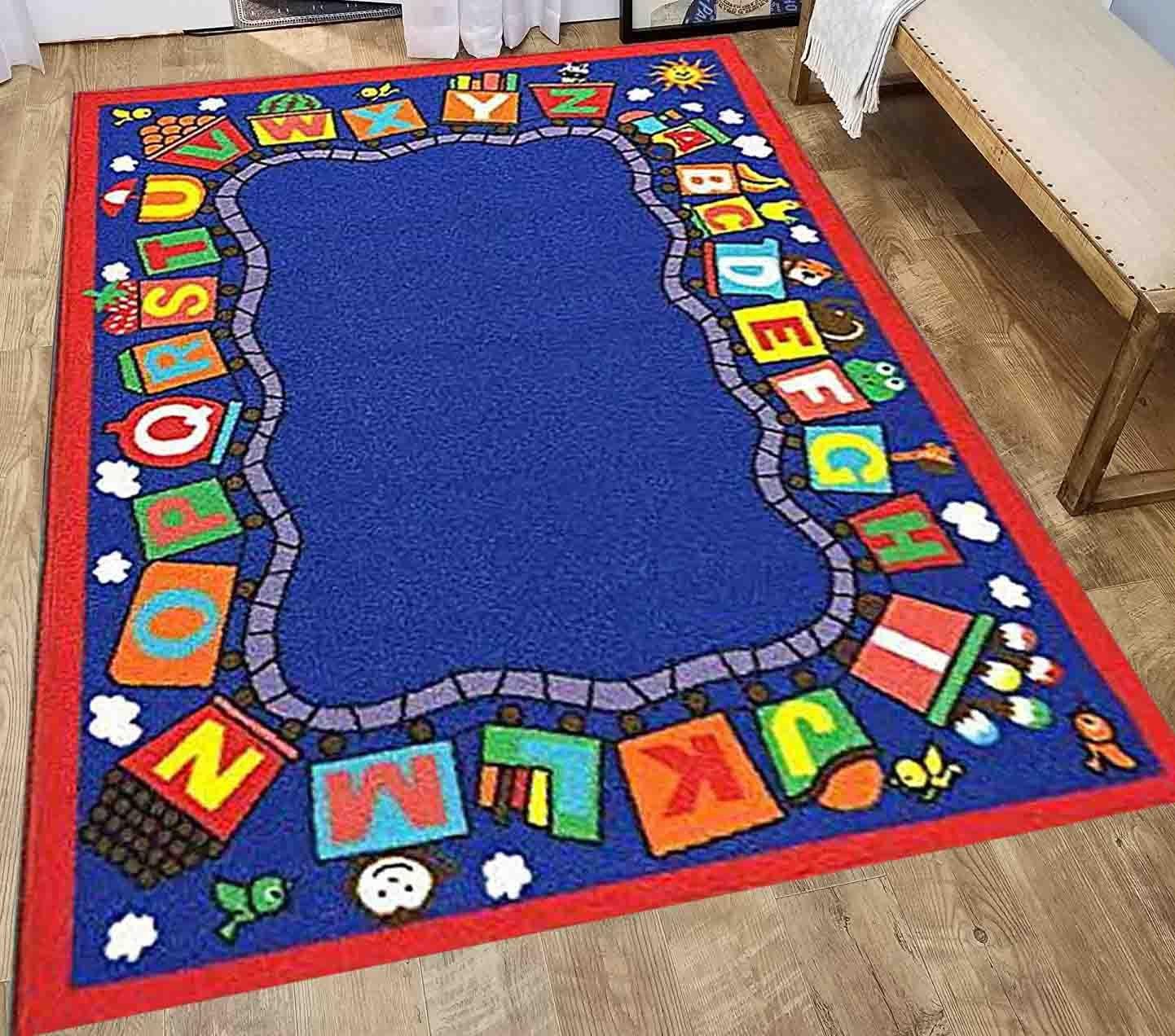 5x7 New Kids Boys Children Toddler Playroom Nursery Room Bedroom Fun Educational Game School Toys ABC Alphabet Train Area Rug Carpet Colorful Decorative Designer Sale Discount Cheap Sale ( Train )
