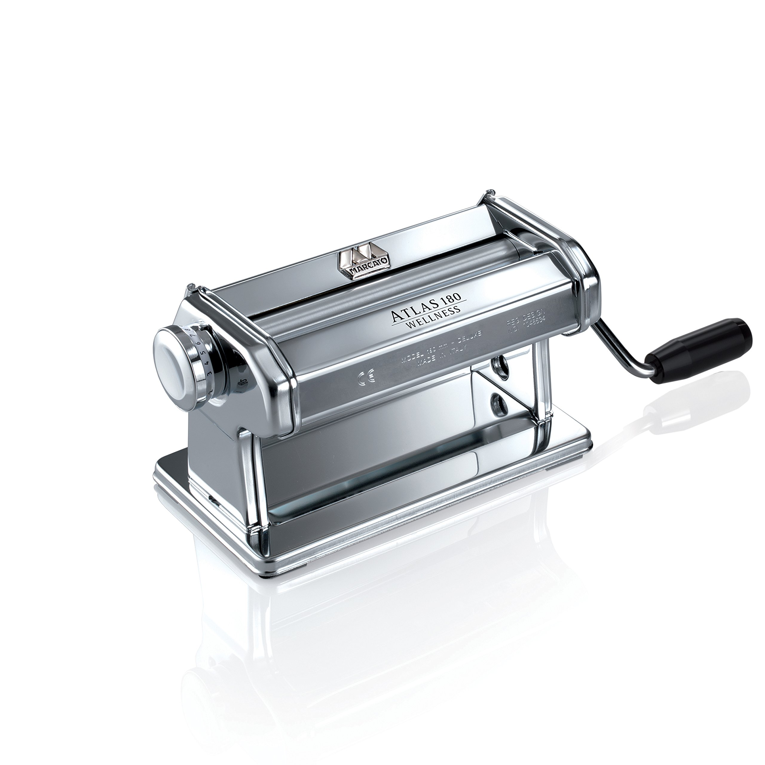 Marcato 8342 Atlas Pasta Dough Roller, Made in Italy, Includes 180-Millimeter Pasta Roller with Hand Crank and Instructions, Silver by Marcato