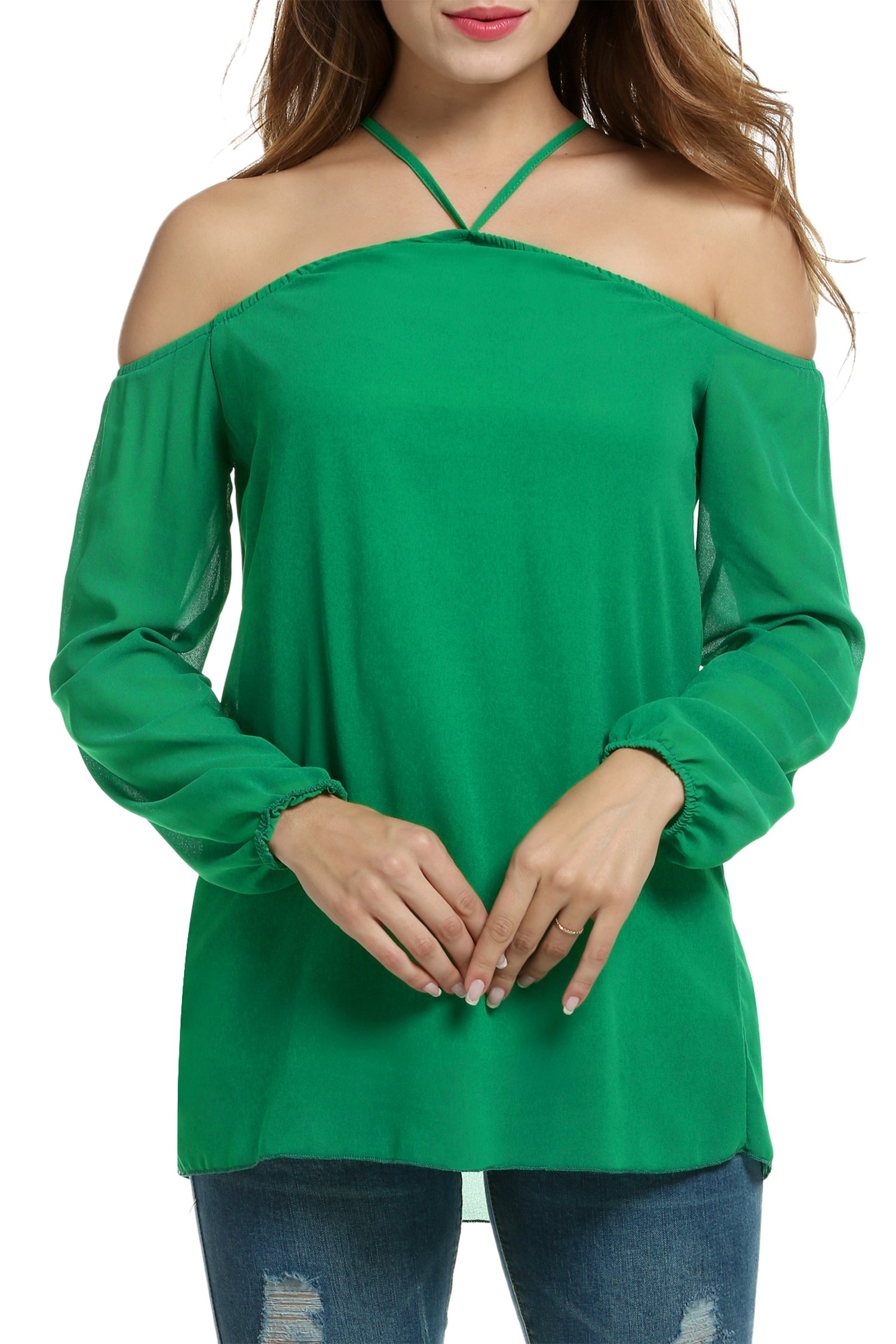 HOTOUCH Women Casual Halter Off Shoulder Blouse Long Sleeve Shirt Tops (Dark Green XL)
