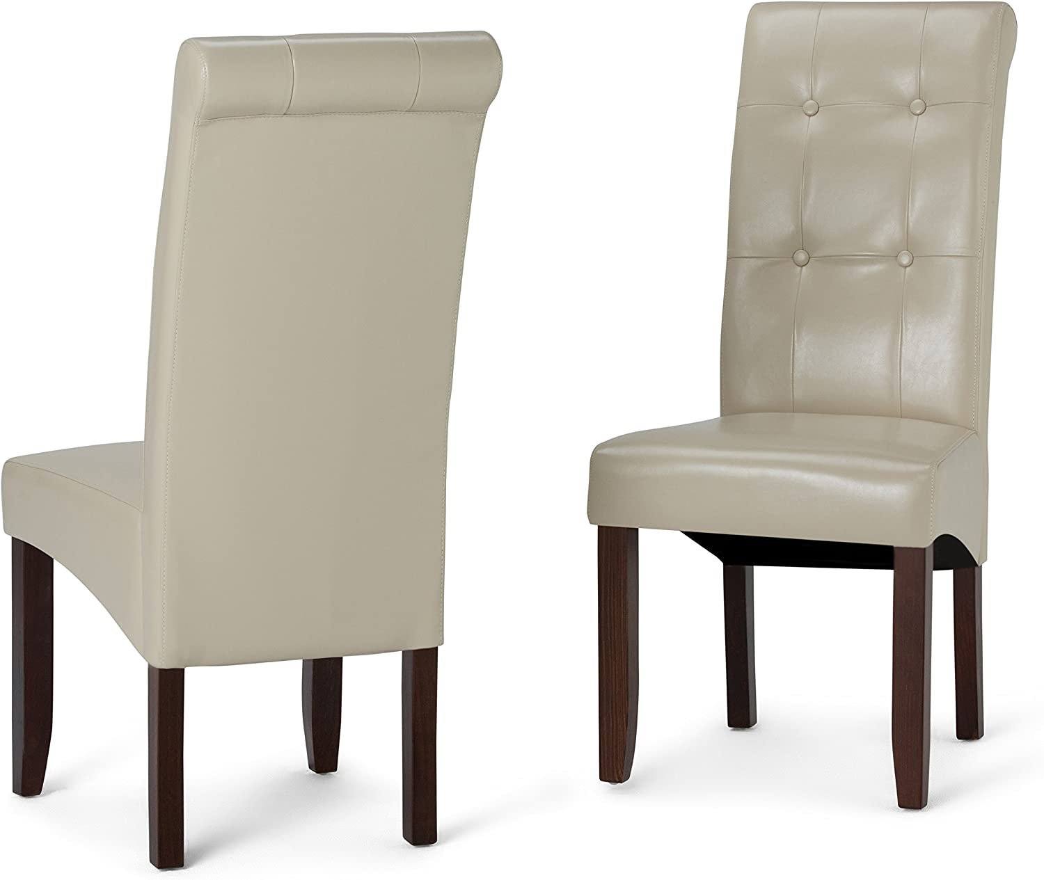Simpli Home WS5109-4-CR Cosmopolitan Contemporary Deluxe Tufted Parson Chair (Set of 2) in Satin Cream Faux Leather