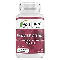 EZ Melts Resveratrol as Trans-Resveratrol, 150 mg, Sublingual Vitamins, Vegan, Zero...