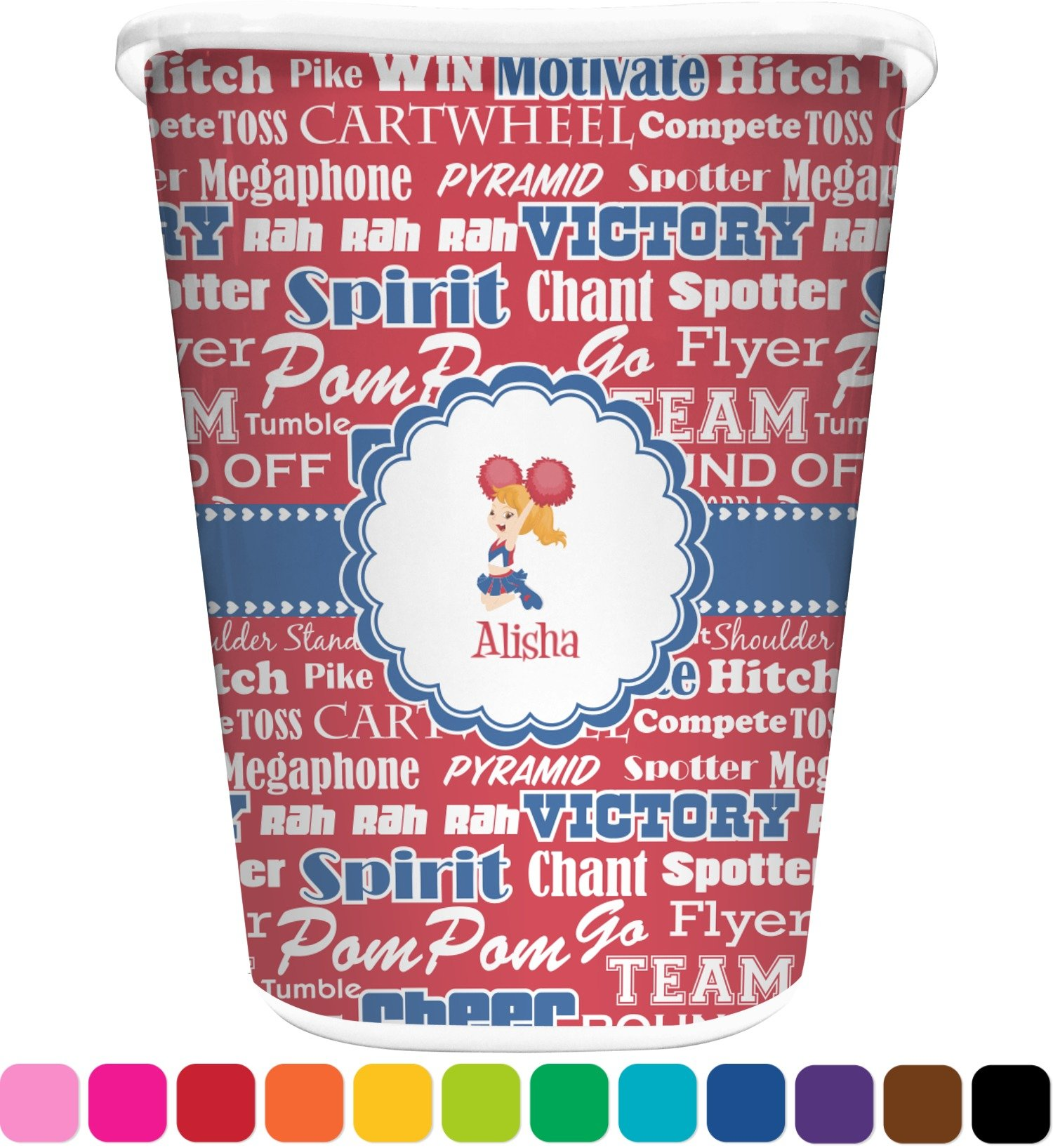 RNK Shops Cheerleader Waste Basket - Single Sided (White) (Personalized)