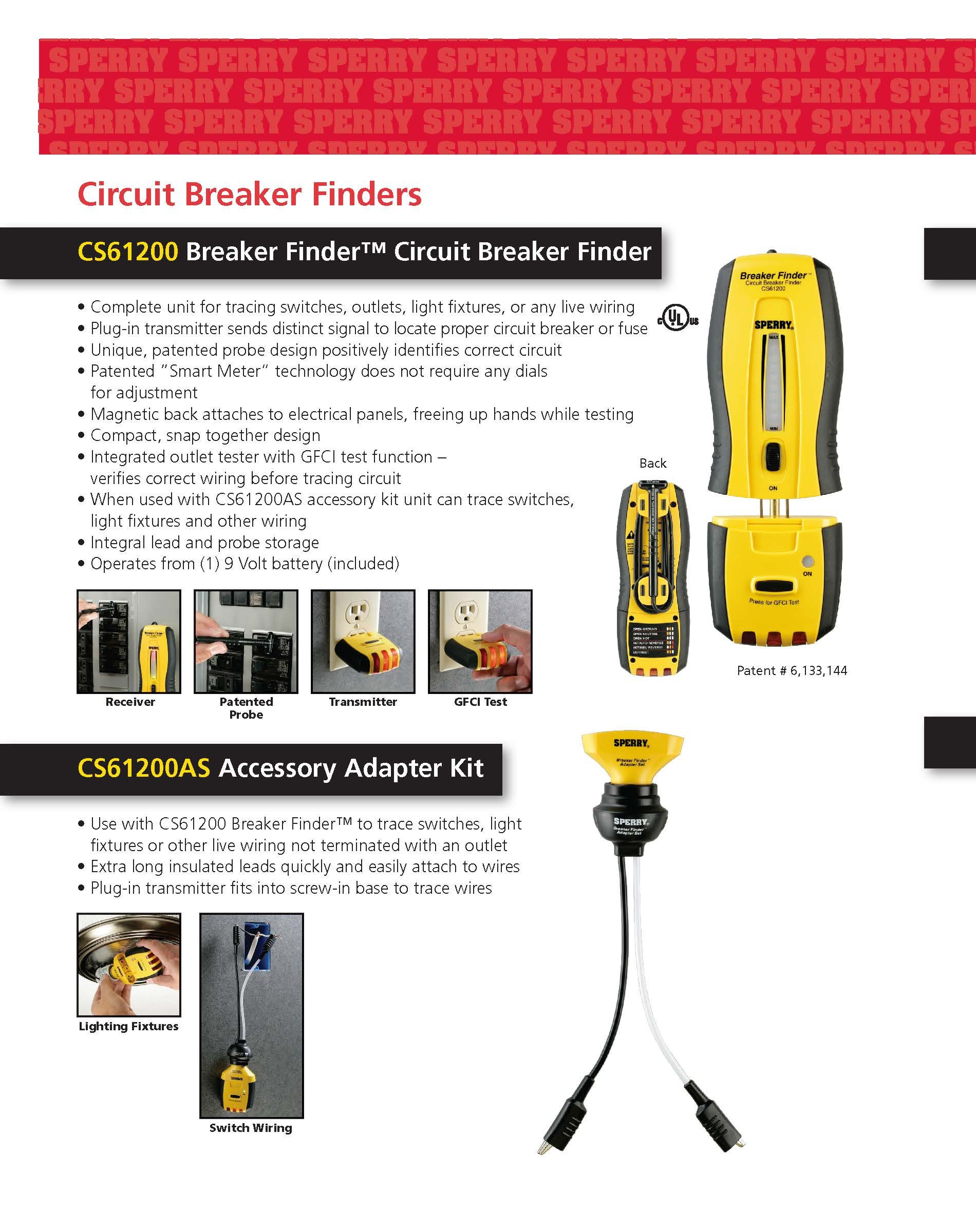 Sperry Instruments CS61200AS Adaptor Kit For CS61200 Electrical Circuit Breaker Finder, 120V AC, 60Hz
