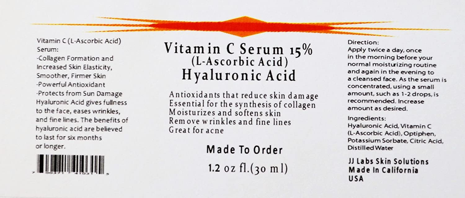Amazon Com Vitamin C Skin Serum 15 L Ascorbic Acid With Pure Hyaluronic Acid Anti Aging Serum 1 2 Oz Skin Care Product Sets Beauty