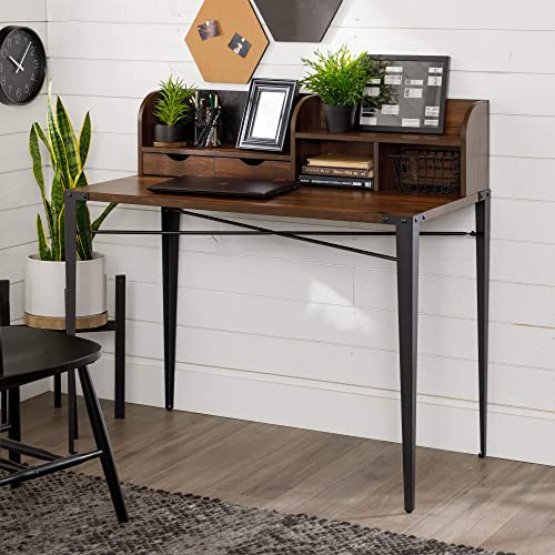 Walker Edison Industrial Metal and Wood Laptop Computer Writing Desk Home Office Workstation Small