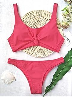 d649f81933848 ZAFUL Women s Bathing Suit Scoop Knotted High Cut Bikini Set Wide Straps  Swimsuit
