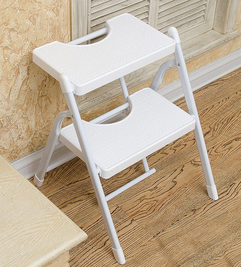 CAIJUN ステップのはしごの金属折りたたみステップスツールエンジニアリング移動エスカレーターの家プラスチックヘリンボーンチェア、2色、2サイズを登るホーム ステップ (色 : White 2 layers) B07DJ1BLN8  White 2 layers
