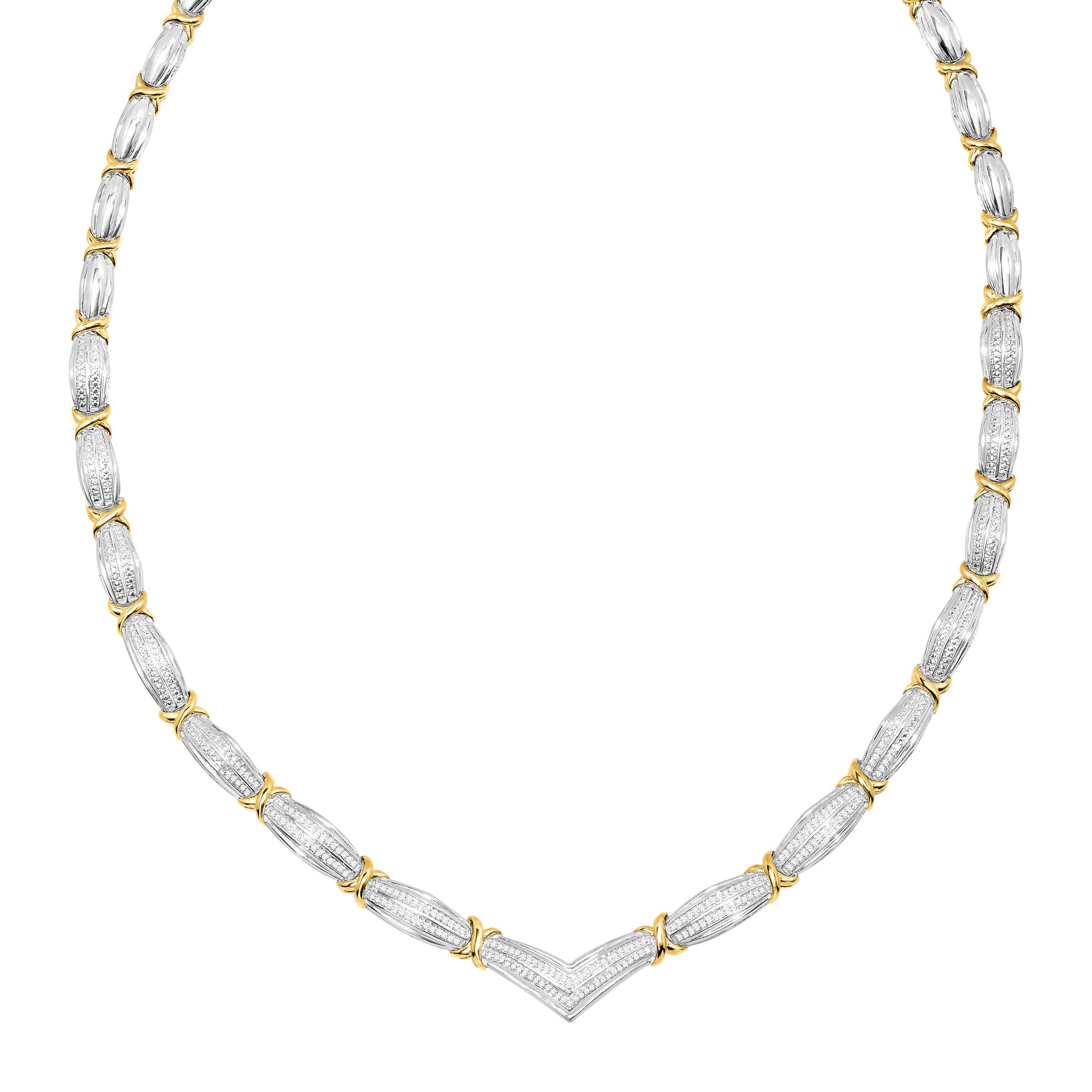 1/2 ct Diamond 'x' Link Necklace in 14K Gold-Plated Sterling Silver, 19''