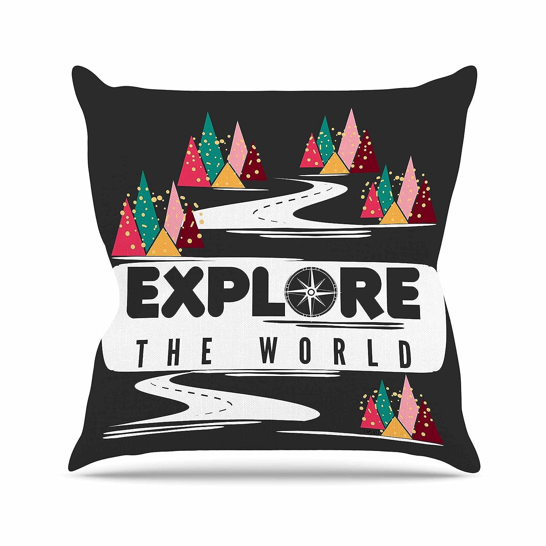 Kess InHouse Famenxt Explore The World Black White Throw Pillow 16 by 16