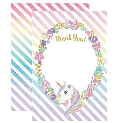 Amazon Unicorn Birthday Thank You Cards Rainbow Unicorn Party