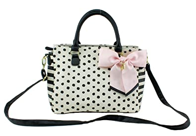 c68c03c19063 Image Unavailable. Image not available for. Color  Betsey Johnson Satchel  Polka Dot ...