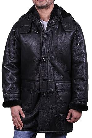 Brandslock Herren Mantel Kapuze Warm Winter Echtes Lammfell Schafsleder Leder  Mantel (X-Small) f3dc8d95b2