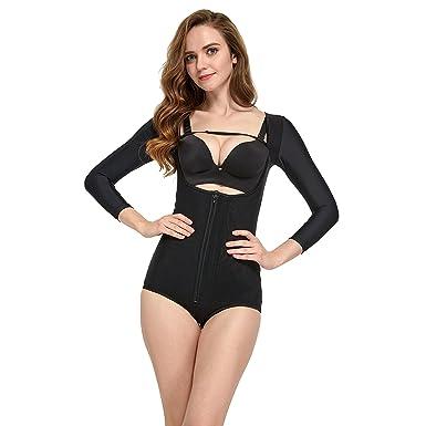 98bda9241382e AICONL Women s Arm Compression Bodysuit Long Sleeves Firm Control Butt Lift Body  Shaper Black