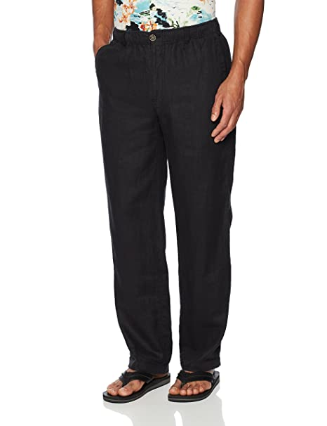 1d1fe238c3 28 Palms Men's Relaxed-Fit Linen Pant with Drawstring, Black, X-Small