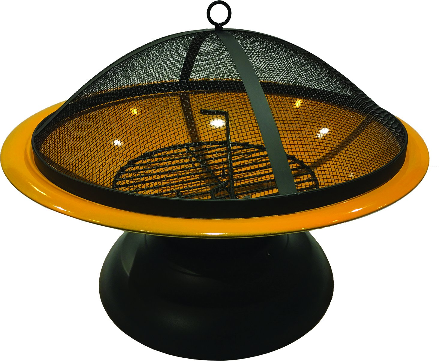 Harbor Gardens LF273AORG Vesta Orange Enameled Fire Bowl/Pit, Powder Coated Steel - Heat-resistant, powder coated Steel bowl Mesh fire screen with high temperature paint Screen Lift tool and wood grate included - patio, outdoor-decor, fire-pits-outdoor-fireplaces - 81CQJ2tI4hL -