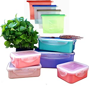 DISCASEH, Food storage containers with lids, BPA free, Freezer, Dishwasher& microwave-safe, Wheat straw plastic,Reusable silicon bag, Snack lunch box,Rectangular, Snap lock