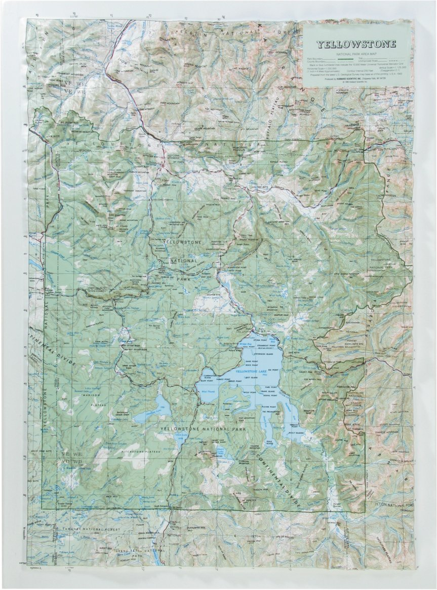 Hubbard Scientific Raised Relief Map 419 Yellowstone National Park ...