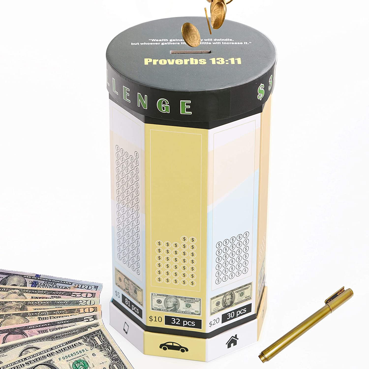 Money Saving Box Piggy Bank For Adults Travel Fund Vacation Fund Adventure Fund And Honeymoon Fund Dollar Green Amazon In Office Products