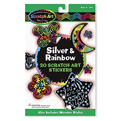 Melissa & Doug Scratch Art Silver and Rainbow Stickers, Includes 20 Stickers: Melissa & Doug: Toys & Games