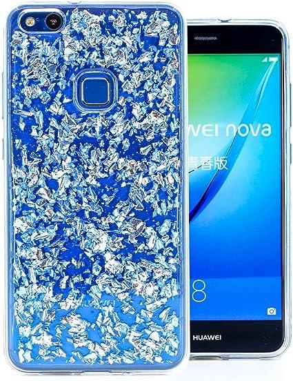 COOVY® Custodia per Huawei P10 Lite/Nova Lite Sottile, Antiurto, in Silicone TPU, Cover con Scintillante Design Glitterato   Colore Blu