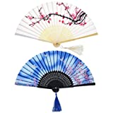 2 Pieces Folding Fans Handheld Fans Bamboo Fans with Tassel Women's Hollowed Bamboo Hand Holding Fans for Wall Decoration, Gifts (White Cherry and Blue Butterfly Pattern)