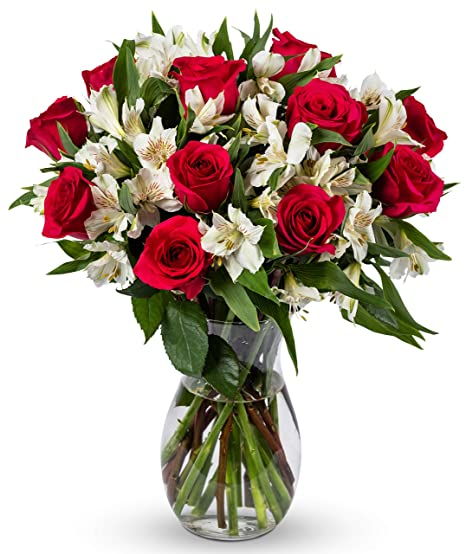 Amazon Com Benchmark Bouquets Signature Roses And Alstroemeria With Vase Fresh Cut Flowers Fresh Cut Format Rose Flowers Grocery Gourmet Food