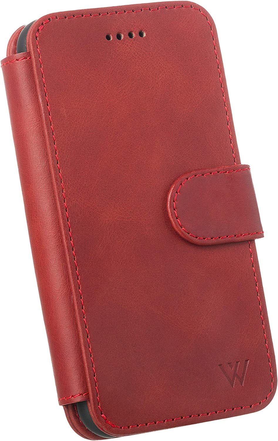 Wilken iPhone 7/8+ Plus Leather Wallet with Detachable Phone Case | Wireless Charging Compatible with iPhone 8 Plus | Top Grain Genuine Leather | Red