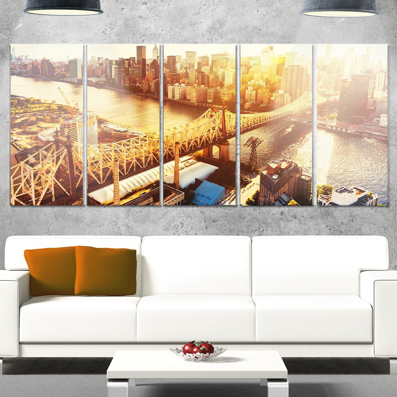 Designart MT14017-628 Queensboro Bridge Over East River Large Cityscape Glossy Metal Wall Art, Yellow, 70x28'