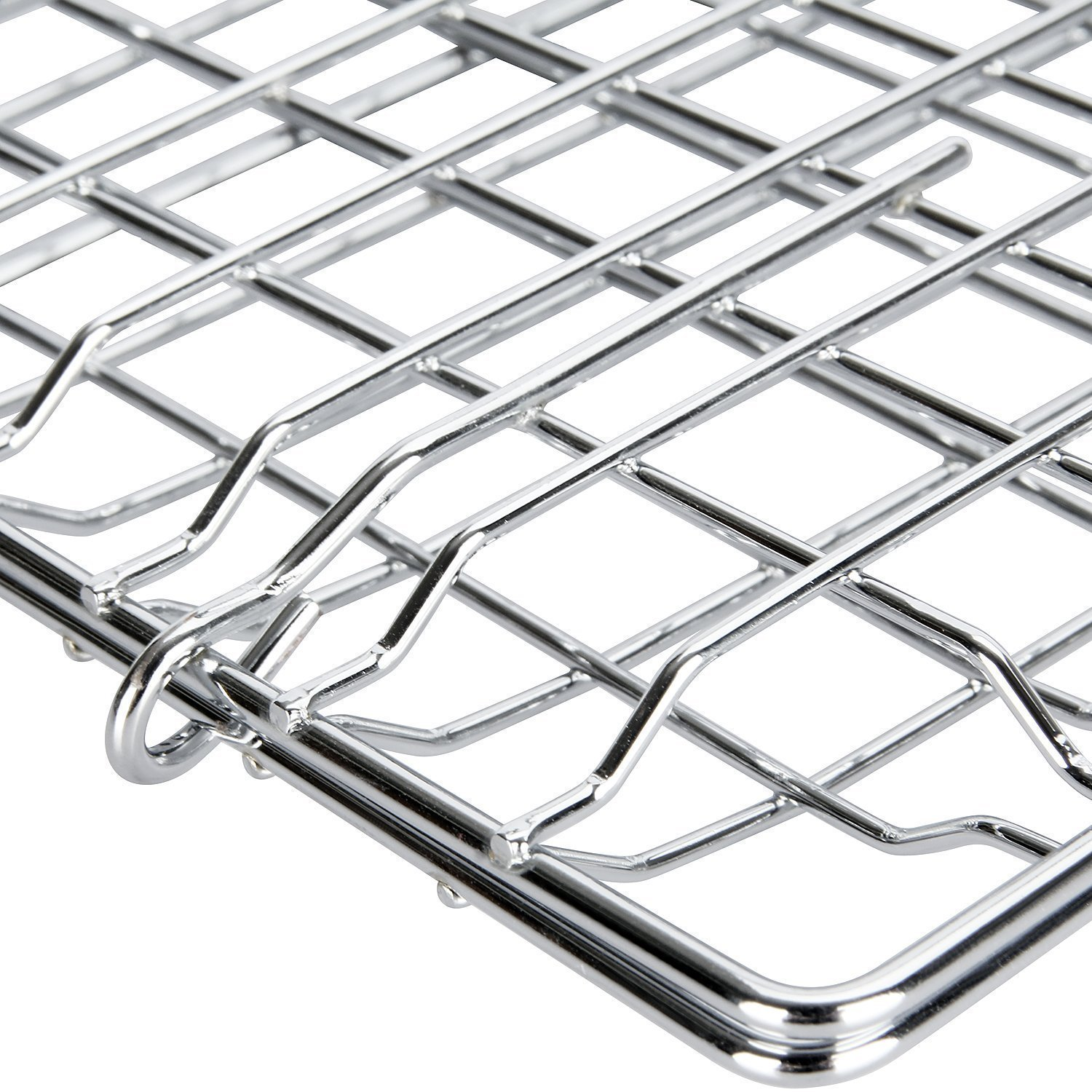 Yeeteching Fish Grilling Basket, Stainless Steel Grilling Basket for BBQ(Additional Basting Brush 2 Pack + Carrying Case)