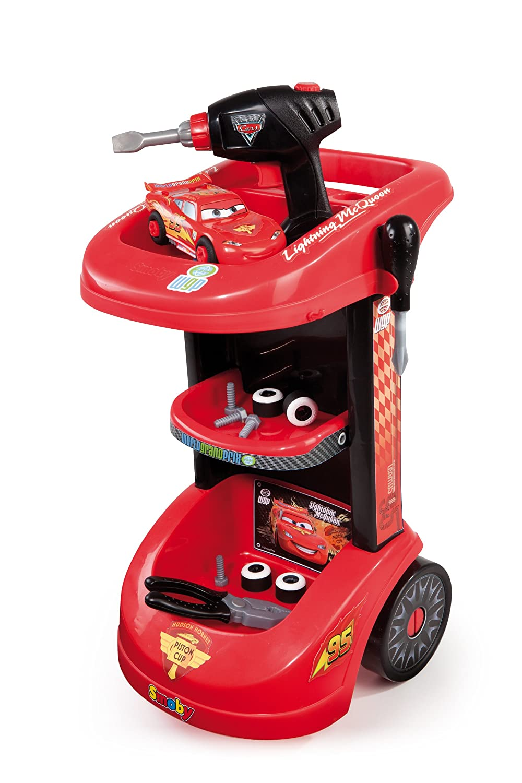 Cars Smoby 500188 Carrito taller de coches con figura de Rayo McQueen: Amazon.es: Juguetes y juegos
