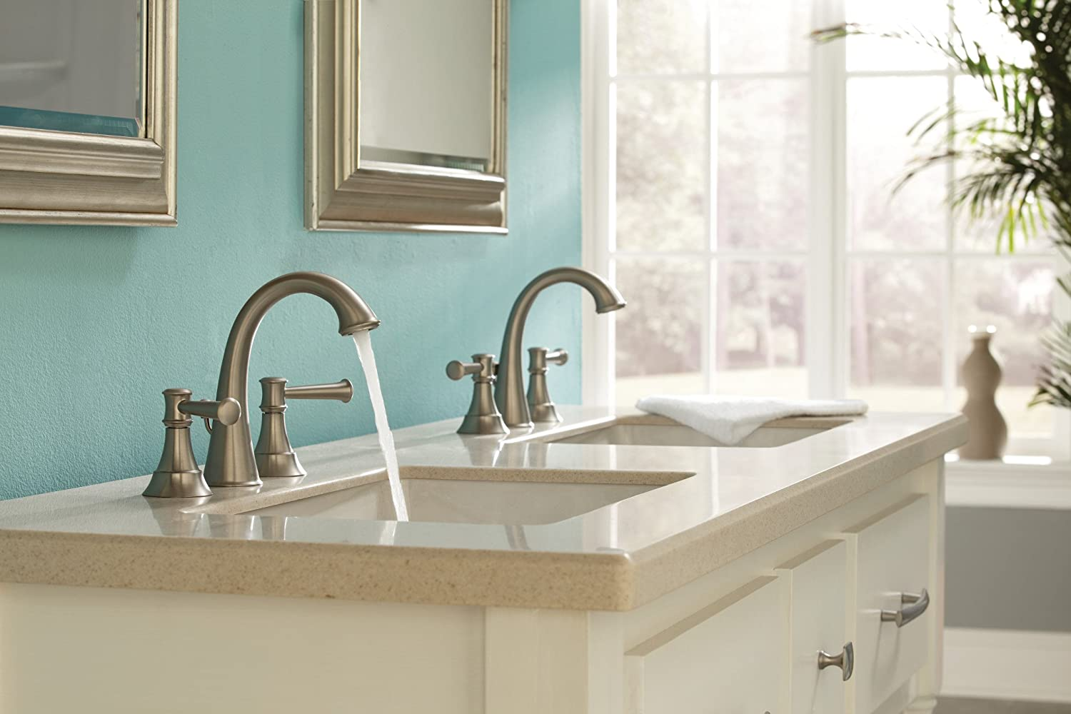 Moen WS84778MSRN Ashville Widespread 2 Handle Bathroom Faucet with ...