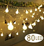 80 LED Globe String Lights- 30 feet Battery Operated Globe Fairy Light - Perfect for Indoor, Outdoor, Garden, Chrismas Tree, Party, Festival, Wedding Decoration