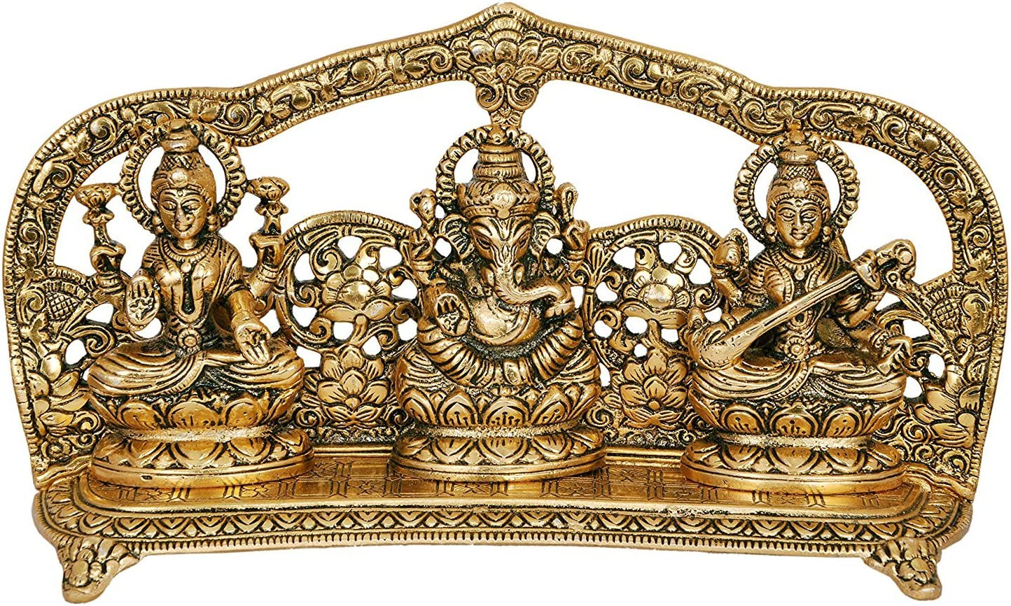 CraftVatika Goddess Laxmi Ganesha Saraswati Idol - Lakshmi Ganesh Saraswati Murti - Decorative Item - Showpiece Idols Statue - Home Decor