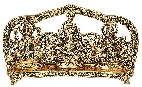 CraftVatika Goddess Laxmi Ganesha Saraswati Idol – Lakshmi Ganesh Saraswati Murti – Decorative Item – Showpiece Idols Statue – Home Decor