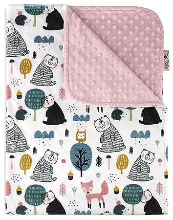 Designer Blanket Minky Baby Blanket Pink Gray Fox Baby Gift