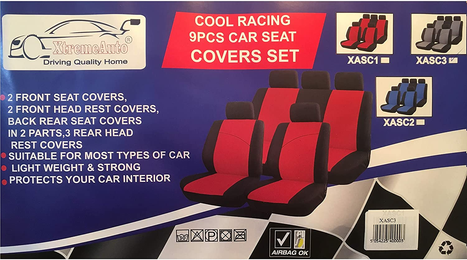 KA S-Max Eco-Sport Edge Fiesta Mondeo Kuga Xtremeauto Red and Black Sport Car Seat Cover Protectors Focus Escort C-Max