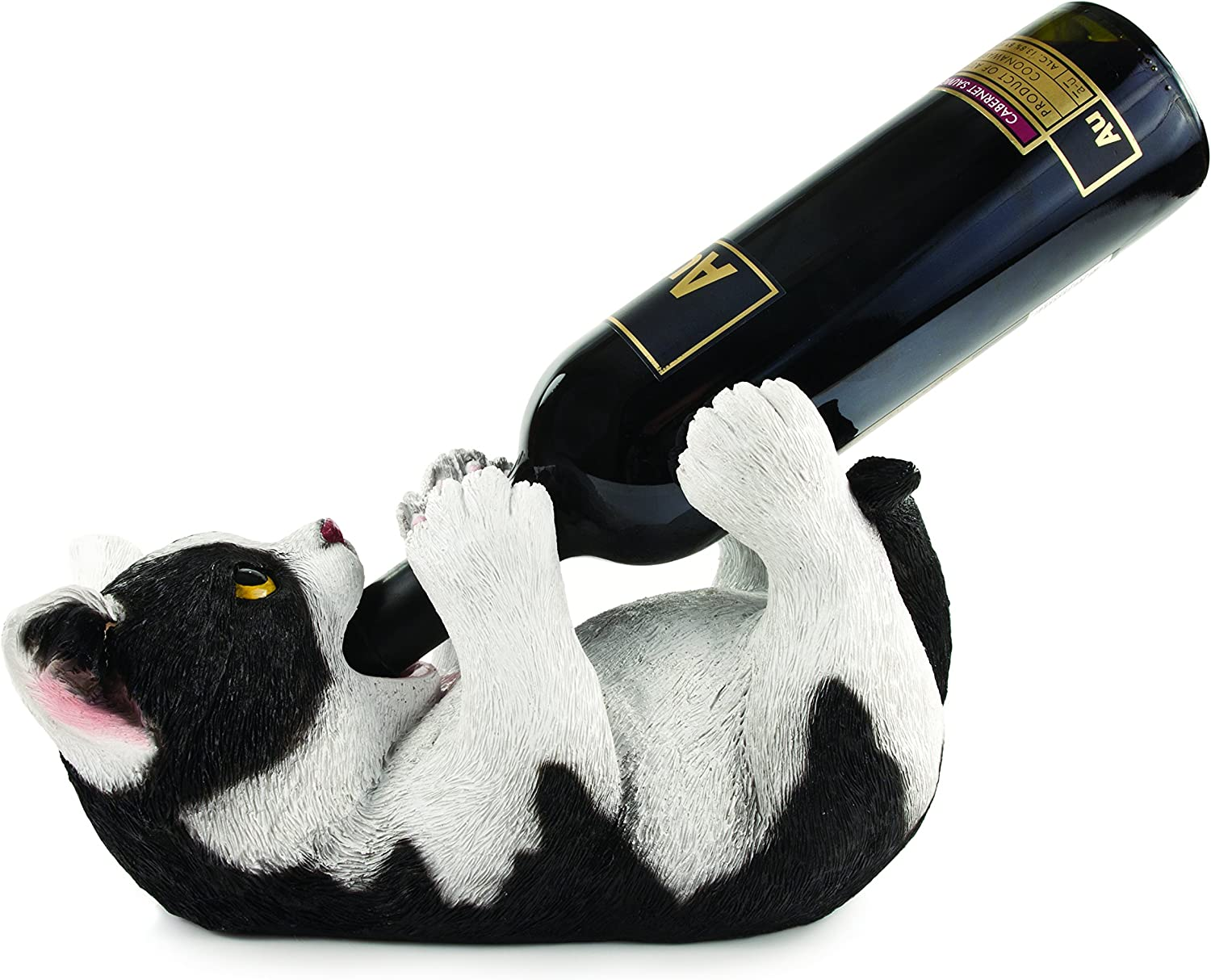 """True Klutzy Kitty Countertop Bottle Holder Kitchen Decor Tabletop Wine Rack Animal Stand for Cat Lovers and Pet Owners, 11.50"""""""