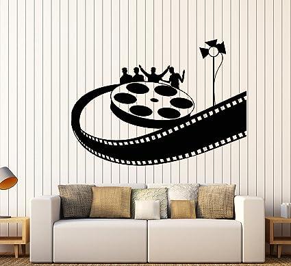 Vinyl wall decal cinema movie theater bobbin film spotlight stickers large decor 1721ig black