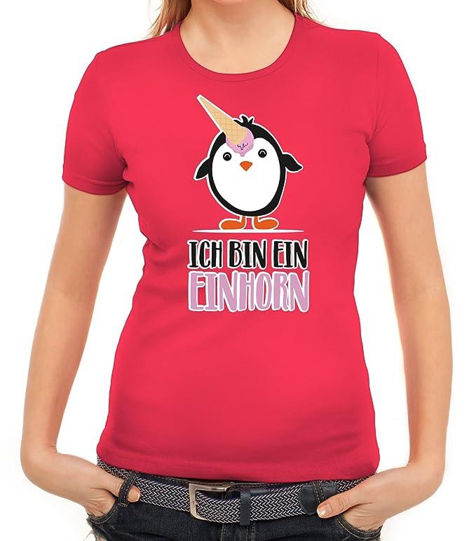 Pinguine Tierfreund Unicorn Damen T-Shirt mit Pinguin - Ich bin ein Einhorn  von ShirtStreet: Amazon.de: Bekleidung
