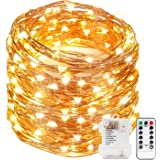 Xergy 10M 100Led Battery Box and Remote and 8 Mode Functions Copper Wire Led Fairy String Lights Valentine Decoration (Warm White) Christmas Tree Decoration Lights Festival Rice Light